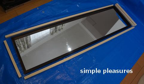 姿見(壁掛けミラー)の簡単リメイク方法:木枠を取り付ける