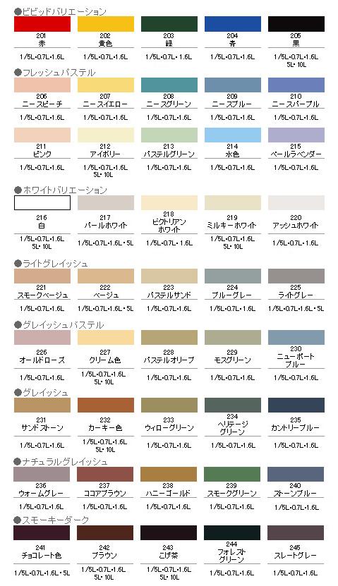 半ツヤ ビッグ10 水性塗料ペンキ カラーバリエーション 色展開