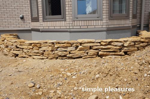 コッツウォールズストーン 積み方 花壇 作り方:木枠を外す