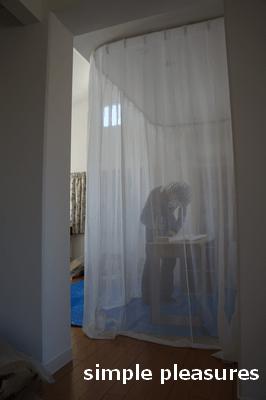 間仕切りカーテン 天井レール 作り方 工房