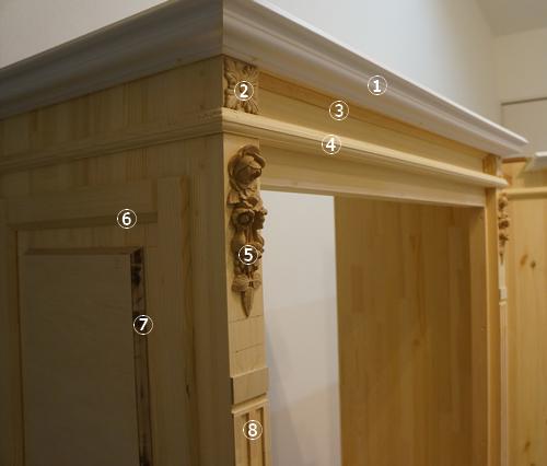 フレンチ風ペイント家具 モールディングと装飾レリーフ