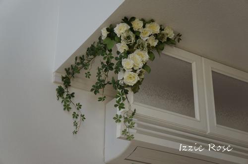 室内用木製エアコンカバーDIY作り方:シルクフラワーで飾る