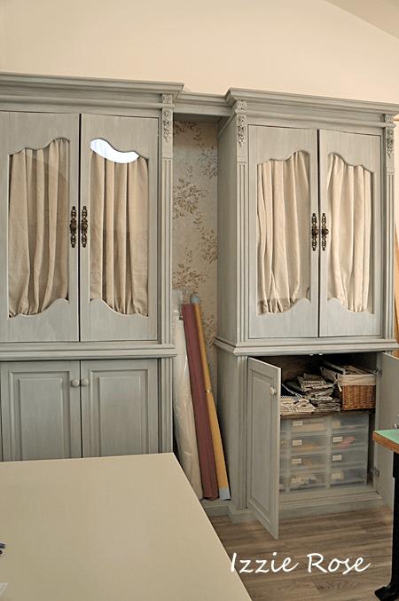 糸と生地の収納棚 アトリエ ミシン部屋