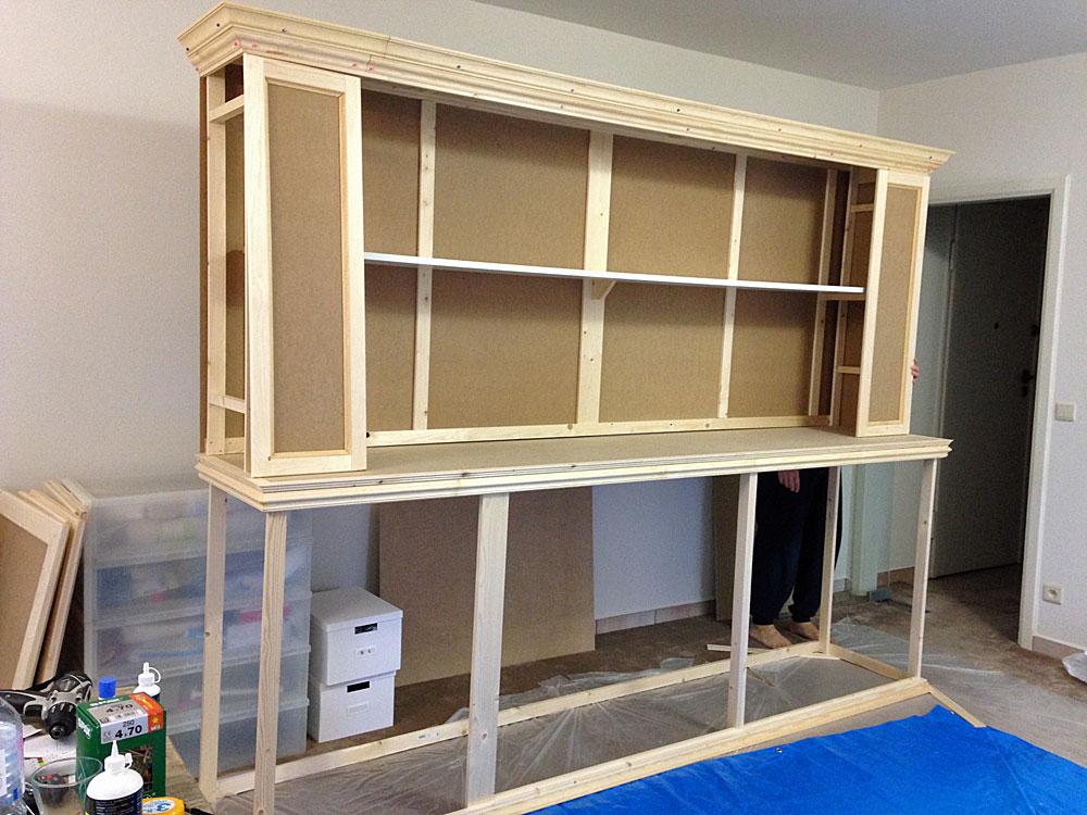 フレンチテイストな棚をDIYで作る方法 上段の壁を作る