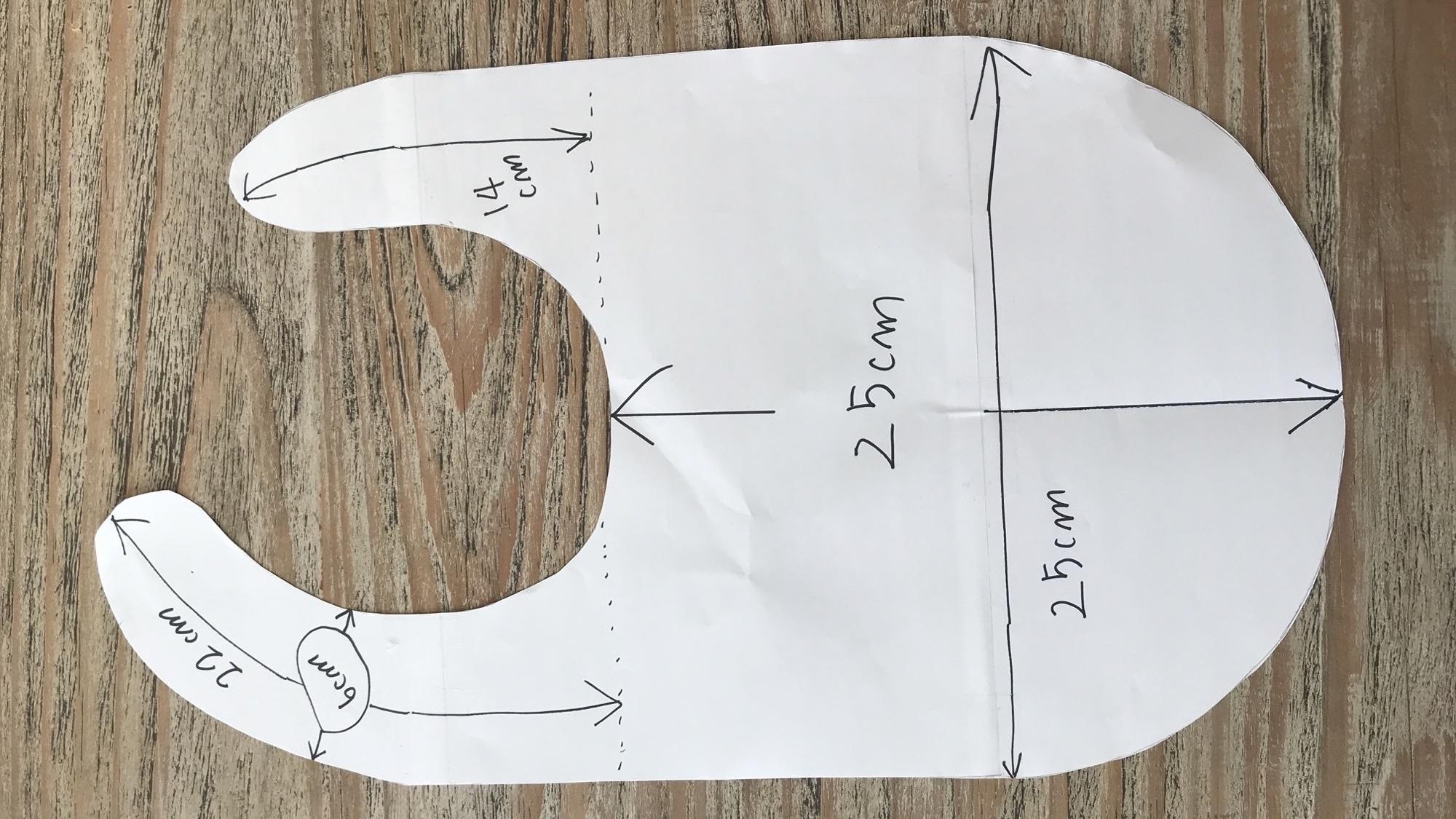 幼児用の食事エプロンの作り方 簡単型紙のサイズ