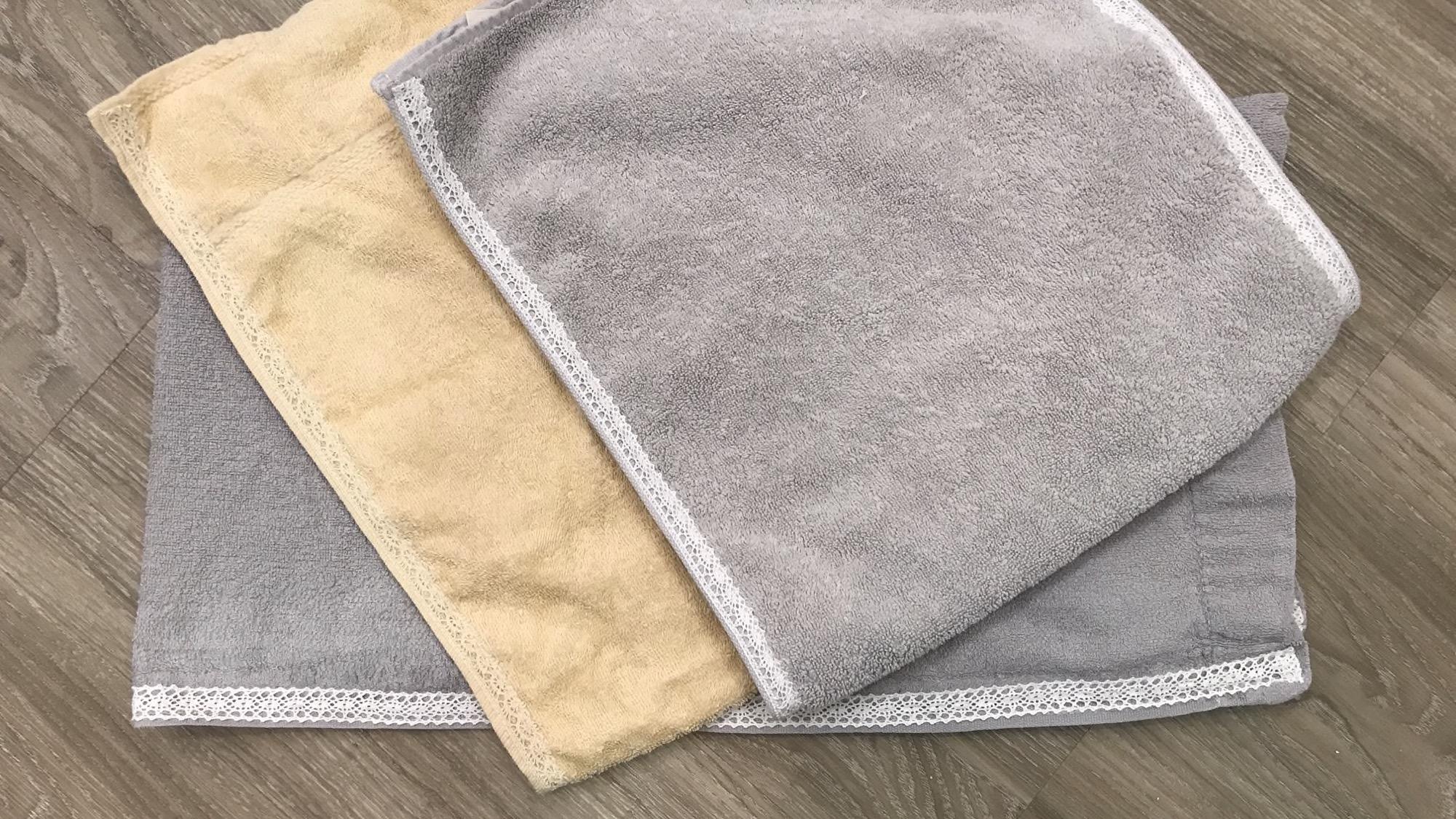 レース断捨離:トーションレース タオルに縫い付ける