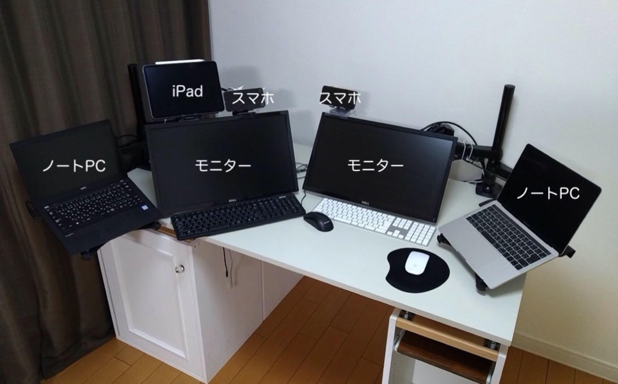 モニターが多すぎ!モニター&ノートPC用アームとダイソーのスマホホルダーで机を快適に